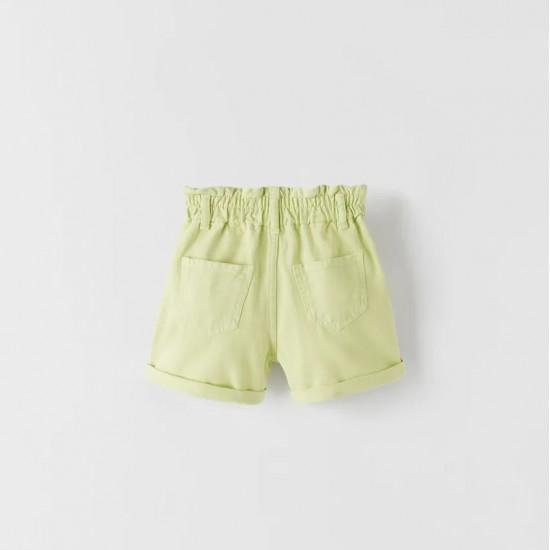 Paperbag Denim Bermuda Shorts