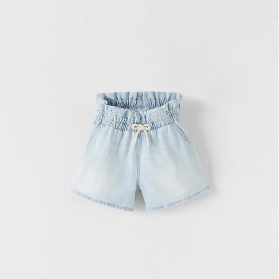 Loose-Fitting Denim Bermuda Shorts
