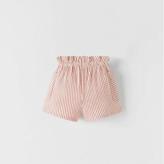 Striped Bermuda Shorts with Belt
