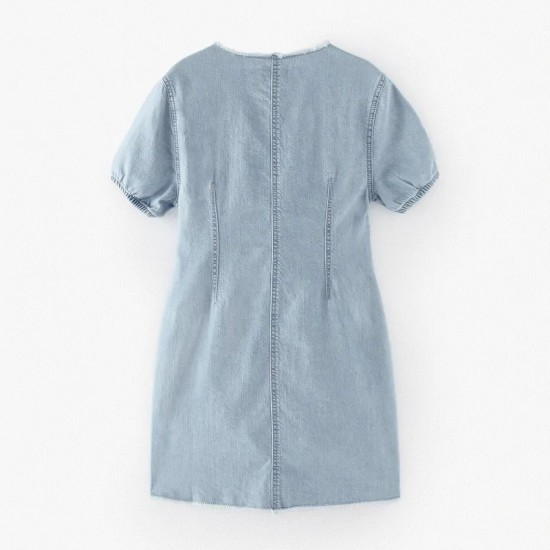 Dress With Frayed Collar