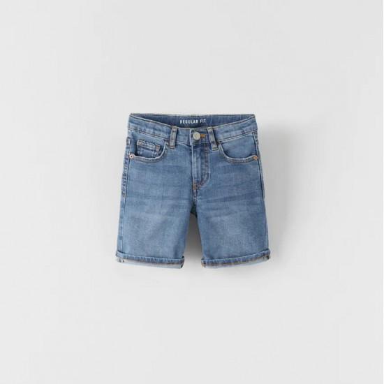 Regular Fit Denim Bermuda Shorts