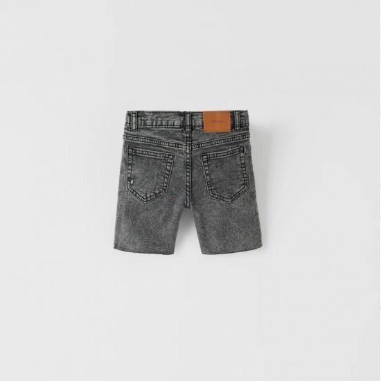 Regular Fit Black Acid Wash Denim Bermuda Shorts