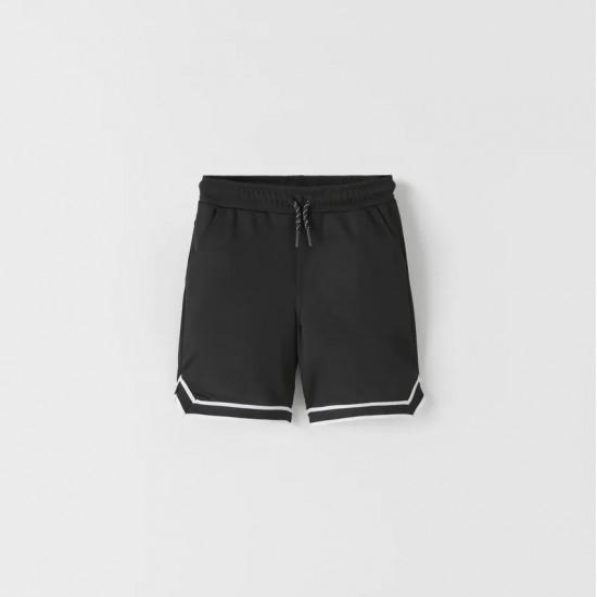 Sporty Bermuda Shorts With Stripes