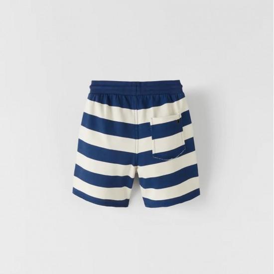 Striped Plush Jersey Bermuda Shorts