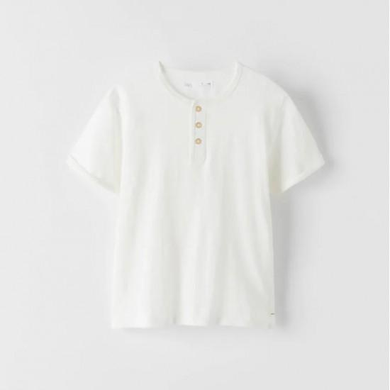 Slub Knit Henley T-Shirt