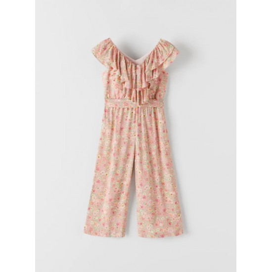 Printed Jumpsuit with Frills