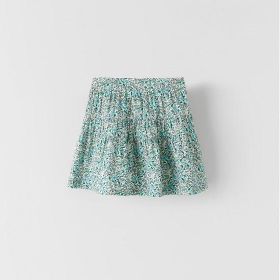 Gathered Printed Skirt