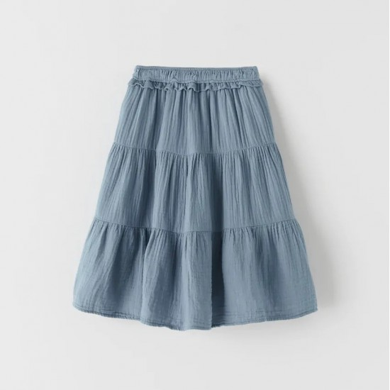 Textured Panelled Midi Skirt