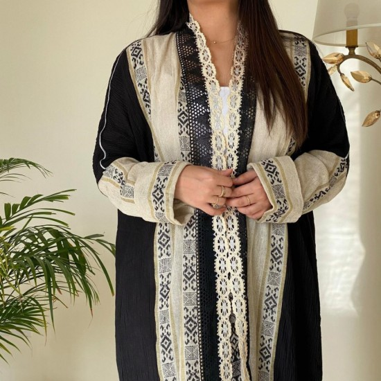 Women's Abaya black and Gold
