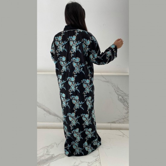 Black Abaya With Blue Floral Embroidery