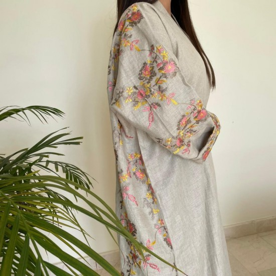 Grey Women's Abaya with Colorful Floral Embroidery