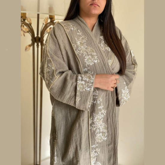 Grey Women's Abaya With floral Golden Embroidery