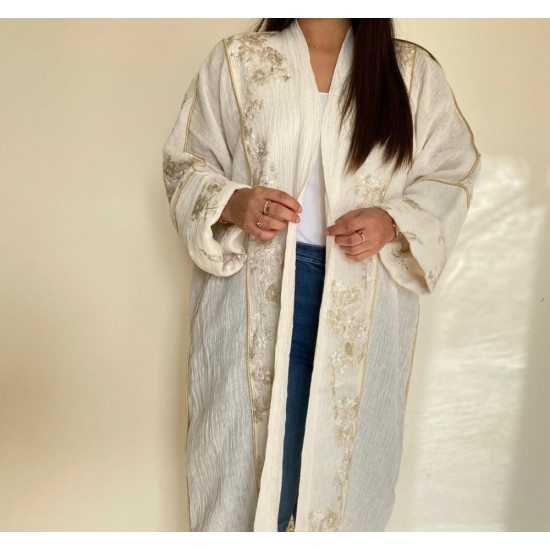 Off white Women's Abaya Embroidered