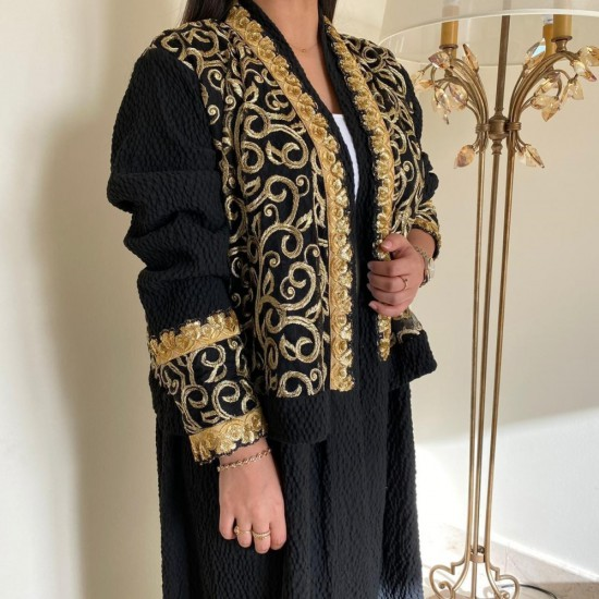 Black Abaya Embroidered in Gold