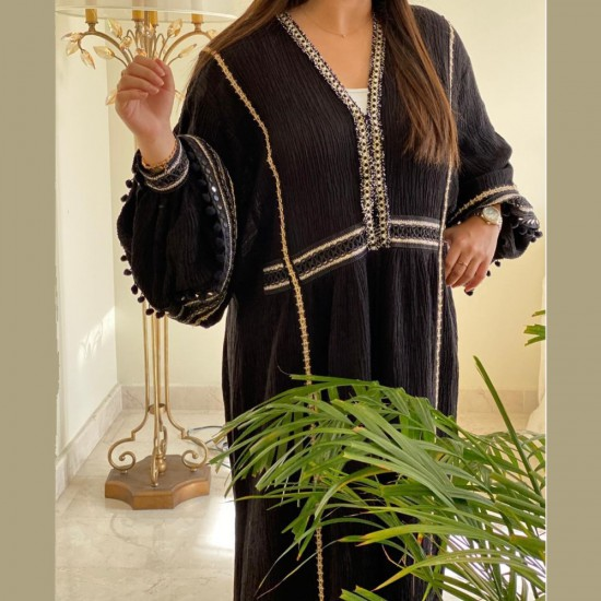Black Abaya Embroidered in Gold for Women