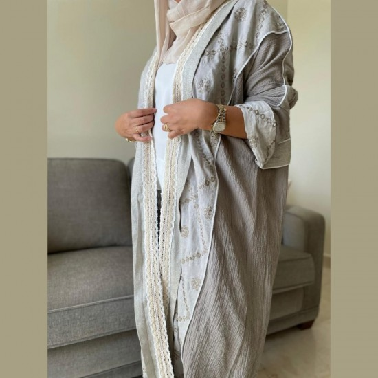 Women's Abaya grey and gold